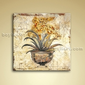 Contemporary Abstract Painting Giclee Oil Picture Retro Flower For Bathroom