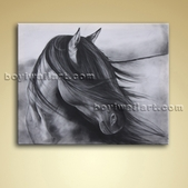 Contemporary Abstract Wall Art Black And White Horse Painting Oil Picture