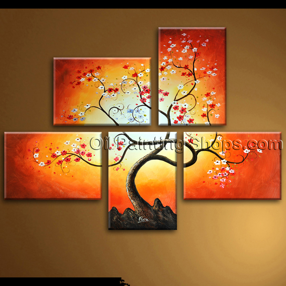 Wall Art Abstract Floral Painting Blossom Oil On Canvas Framed