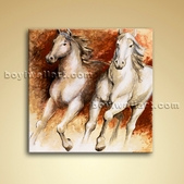 Contemporary Wall Art Abstract Painting Oil On Canvas Horse Runing Picture