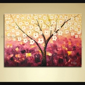 Enchant Original Impressionist Palette Knife Hand Painted Oil Painting Stretched Ready To Hang Blossom Tree