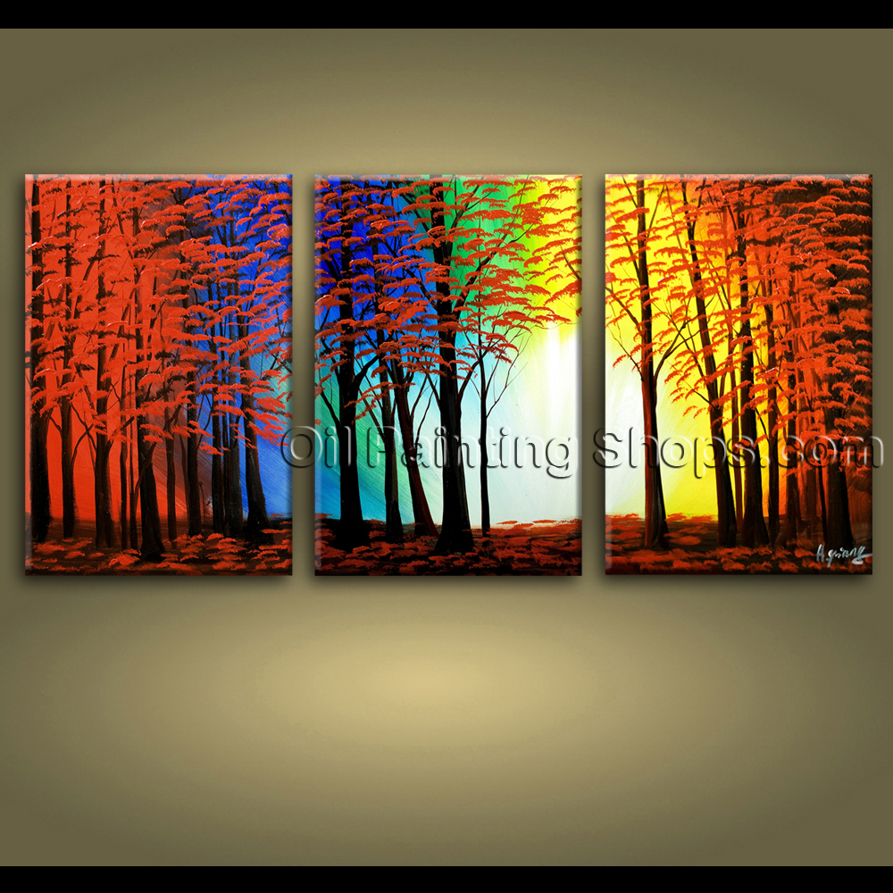 Extra Large Wall Art Hand Painted Abstract Landscape Sunset Tree Road