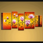 extra large wall art modern abstract painting tulip flower 5 panels framed