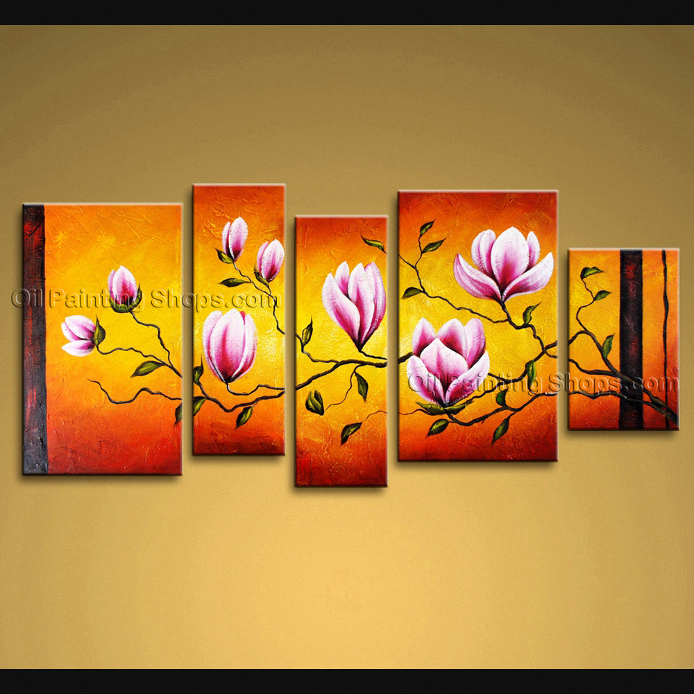 Large Wall Art Modern Abstract Painting Tulip Flower 5 Panels Framed