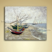Fishing Boats On The Beach Giclee Oil Canvas Wall Art Home Decoration Idea
