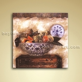 HD Oil Retro Floral Painting With Ming Porcelain Picture Canvas Wall Decor