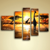 Huge Abstract Landscape Wall Art Oil On Canvas Giraffe Sunset Scene Framed