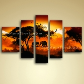 Huge Canvas Oil Africa Landscape Tree Elephant Sunset 5 Pieces Framed BoYi