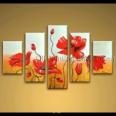 Huge Contemporary Wall Art Abstract Floral Painting Poppy Flowers Hand Painted