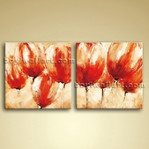 Large Abstract Painting Canvas Oil Contemporary Wall Art Floral Tulip Flower