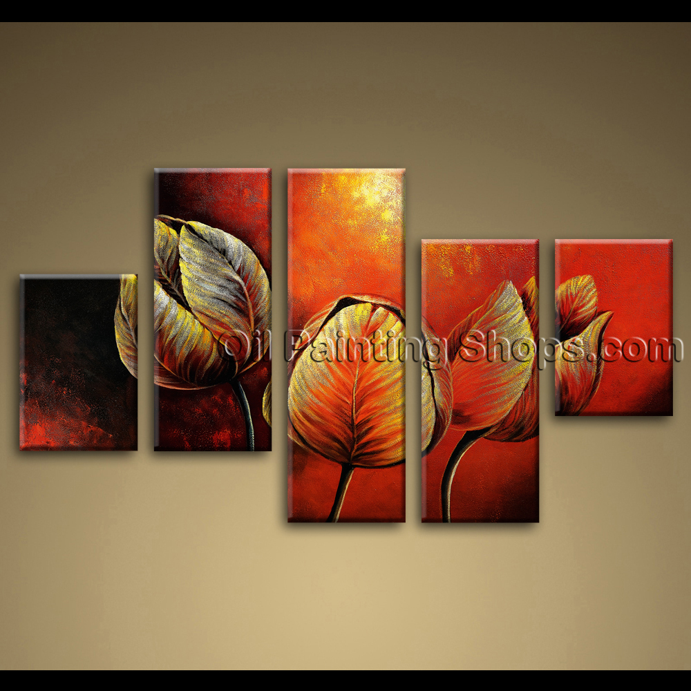Large Canvas Painting Tulip Flowers Red Abstract Wall Art Framed