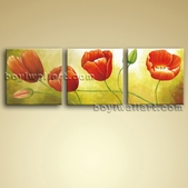Large Canvas Wall Art Oil Abstract Tulip Flowers Painting Contemporary Framed