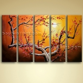 Large Stretched Canvas Giclee Oil Plum Blossom Tree Abstract Landscape Picture
