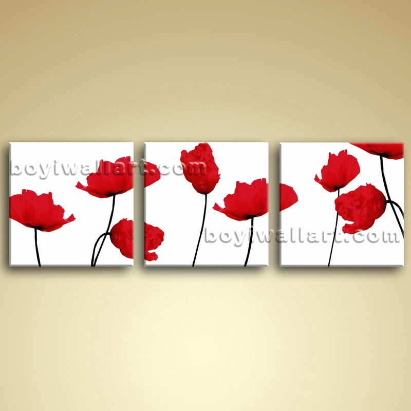 Living Room Wall Art Canvas Large Picture Oil Poppy Flower Modern