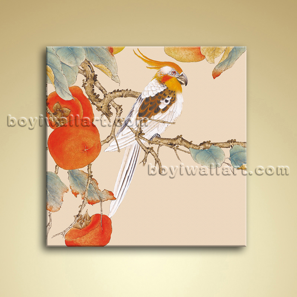 modern abstract floral painting bird tree oil canvas wall art bedroom