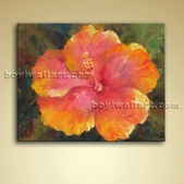 Modern Abstract Floral Painting Flower Picture Oil On Canvas Stretched