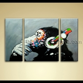 Picture Of Thinking Monkey With Headphone Large Wall Art Painting On Canvas