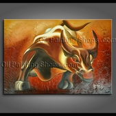 Wall Street Bull Statue Abstract Painting