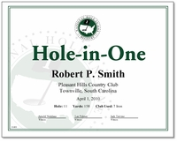 Hole in One Award Certificate