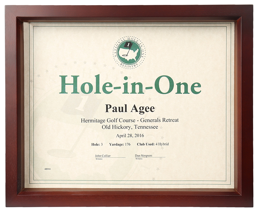 Hole-In-One Shadow Box Certificate Frame only $45.00 ...
