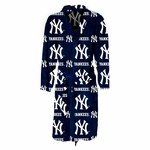New York Yankees Highlight Mens Microfleece Robe in Navy