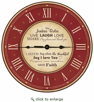 12 INCH ROUND PERSONALIZED CLOCK : BURGUNDY