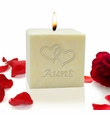 """3"""" PALM WAX CANDLE : HEARTS FOR AUNT"""