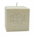 "3"" PALM WAX CANDLE :  MONOGRAM"