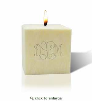 """3"""" UNSCENTED PALM WAX CANDLE : MONOGRAM"""