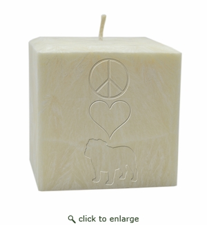 "4"" AROMATHERAPY PALM WAX CANDLE : PEACE LOVE BULLDOG"