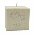 "4"" PALM WAX CANDLE : HEARTS FOR AUNT"