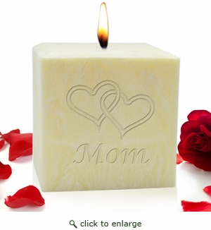 "4"" PALM WAX CANDLE : HEARTS FOR MOM"