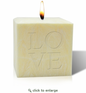 "4"" PALM WAX CANDLE : LOVE"