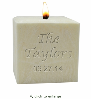 """4"""" PALM WAX CANDLE : NAME & DATE"""