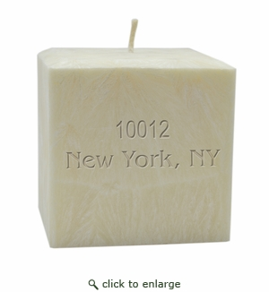 """4""""  PALM WAX CANDLE : PERSONALIZED ZIP CODE"""