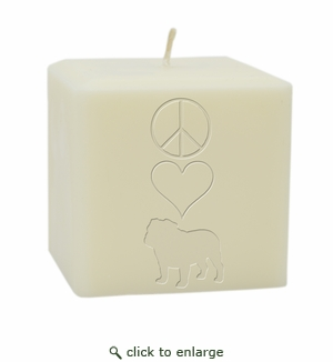 "4"" SOY BLEND CANDLE : PEACE LOVE BULLDOG"