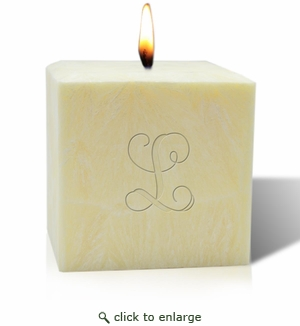 """4"""" UNSCENTED PALM WAX CANDLE : INITIAL"""