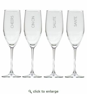 CHEERS CHAMPAGNE FLUTE SET OF 4 (GLASS)