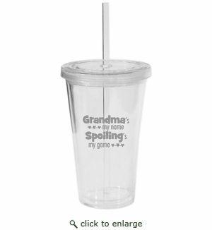 PERSONALIZED DOUBLE WALLED TUMBLER WITH STRAW: GRANDMA'S MY NAME