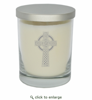 ECO-LUXURY SOY CANDLE: Celtic Cross Silver