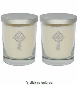 ECO-LUXURY SOY CANDLE SET OF 2: Celtic Cross Silver
