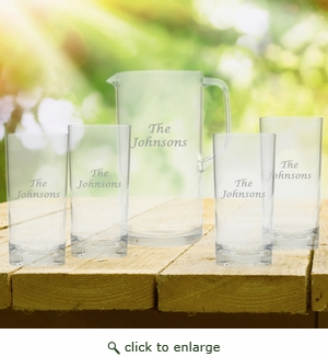 Entertaining Set: Unbreakable pitcher and four highball glasses : Name or Phrase