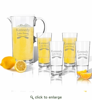 Entertaining Set: Unbreakable pitcher and four highball glasses : Oars