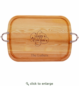 """EVERYDAY COLLECTION: 21"""" x 15"""" LARGE SERVING TRAY WITH NOUVEAU HANDLES: PERSONALIZED HAPPY NEW YEAR"""