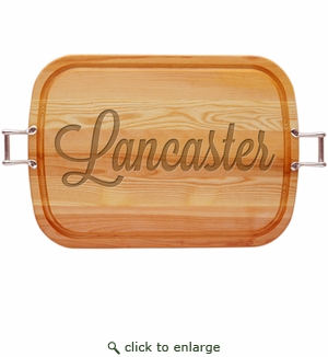 "EVERYDAY COLLECTION: 21"" x 15"" LARGE SERVING TRAY WITH URBAN HANDLES PERSONALIZED"