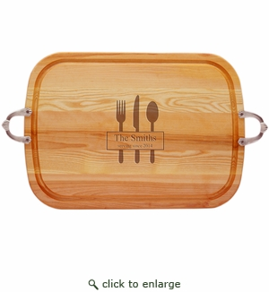 "EVERYDAY COLLECTION: 21"" x 15"" LARGE TRAY NUEVO HANDLES PERSONALIZED SERVING SINCE"