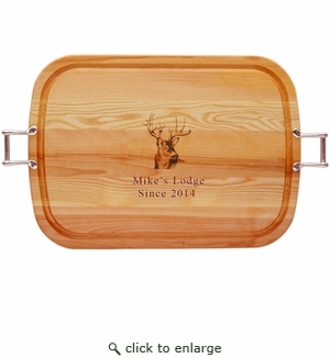 "EVERYDAY COLLECTION: 21"" x 15"" LARGE TRAY PERSONALIZED BUCK"