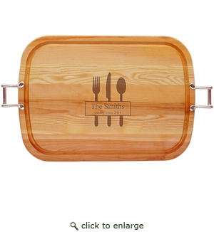 """EVERYDAY COLLECTION: 21"""" x 15"""" LARGE TRAY URBAN HANDLES PERSONALIZED SERVING SINCE"""