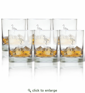 Flamingo Personalized Old-Fashioned Glass - Set of Six