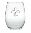 FLEUR DE LIS WINE STEMLESS TUMBLER - SET OF 4 (GLASS)